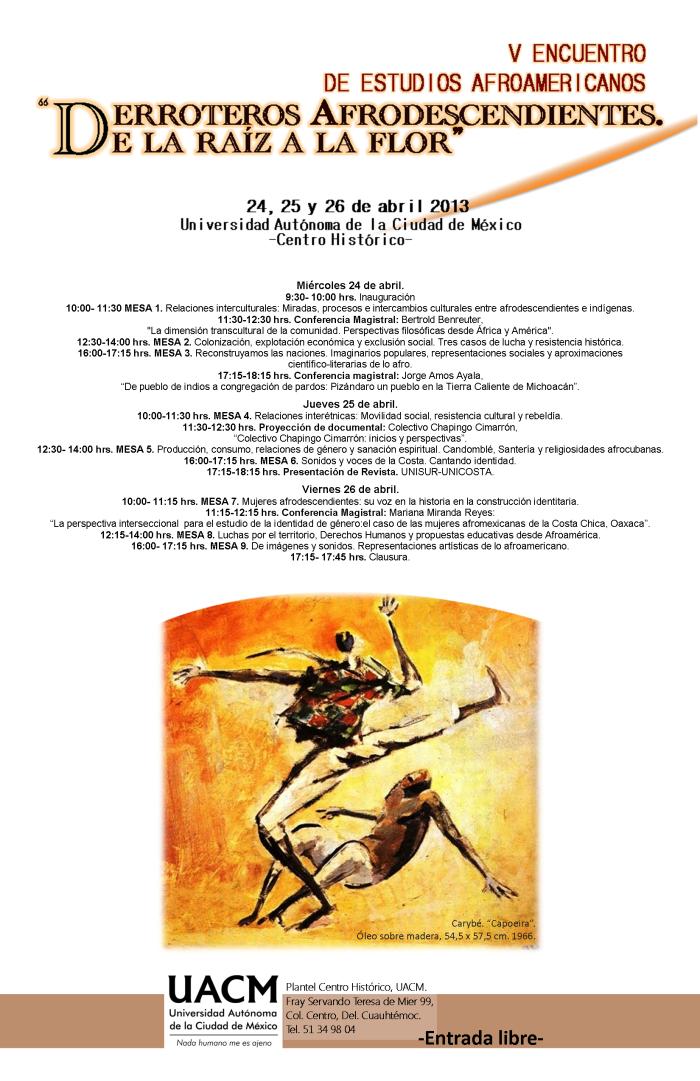 INVITACIÓN :   V  Encuentro de Estudios Afroamericanos