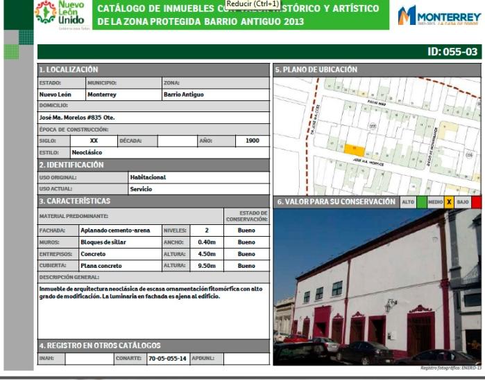 Registro de la casa en catálogo, calle Morelos, 2013